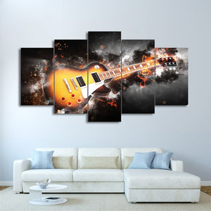 Abstract Flame Guitar-5 Panel-Canvas Bros