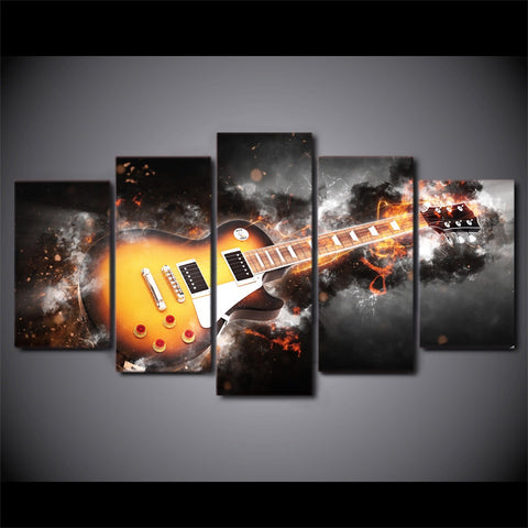 Image of Abstract Flame Guitar-5 Panel-Canvas Bros
