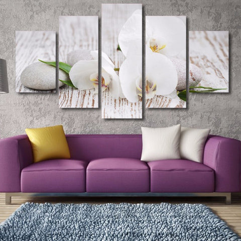 Orchid Pebble-5 Panel-Canvas Bros