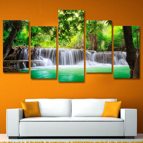 Image of Stunning Waterfall-5 Panel-Canvas Bros
