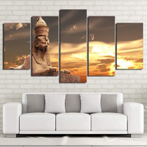 Image of Egyptian Statue-5 Panel-Canvas Bros