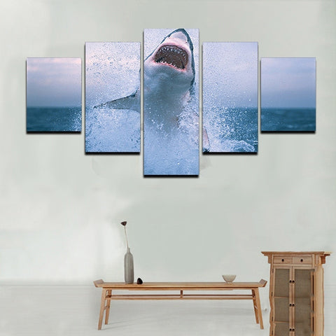 Leaping Great White-5 Panel-Canvas Bros