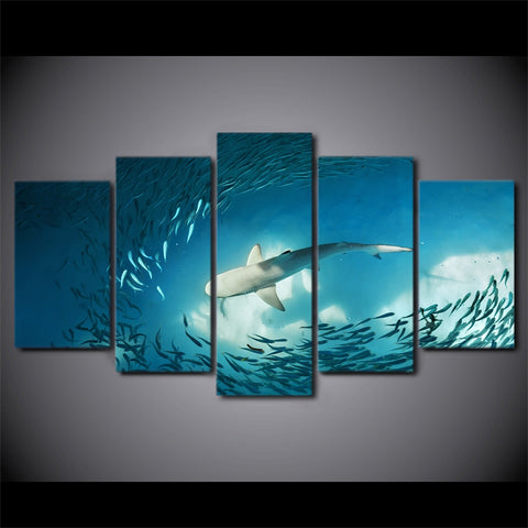 Image of Shark Feast-5 Panel-Canvas Bros