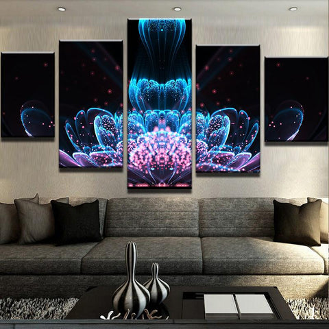 Image of Abstract Lotus-5 Panel-Canvas Bros