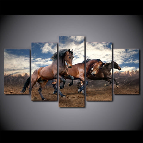 Image of Racing Horses-5 Panel-Canvas Bros