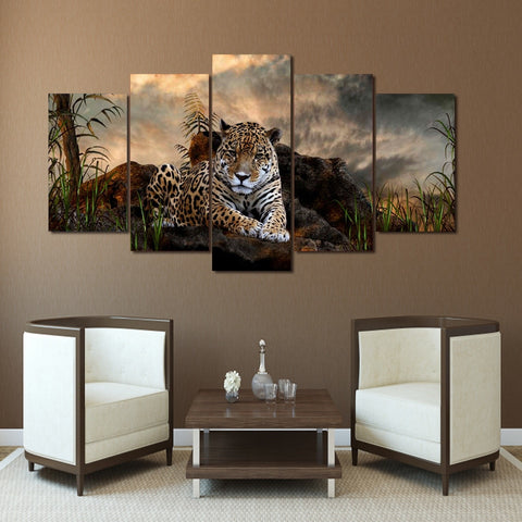 Image of Peaceful Leopard-5 Panel-Canvas Bros
