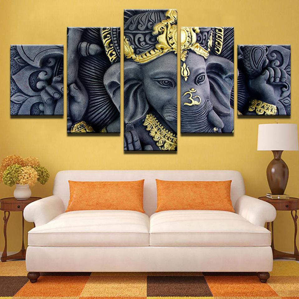 Ganesh Statue-5 Panel-Canvas Bros