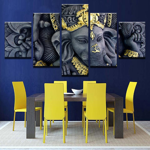 Image of Ganesh Statue-5 Panel-Canvas Bros