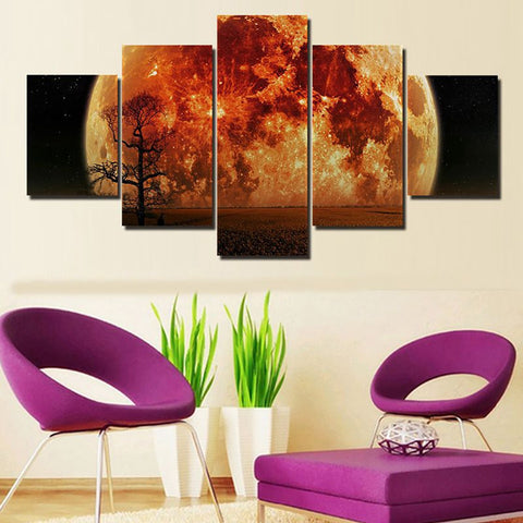 Image of World at Night-5 Panel-Canvas Bros