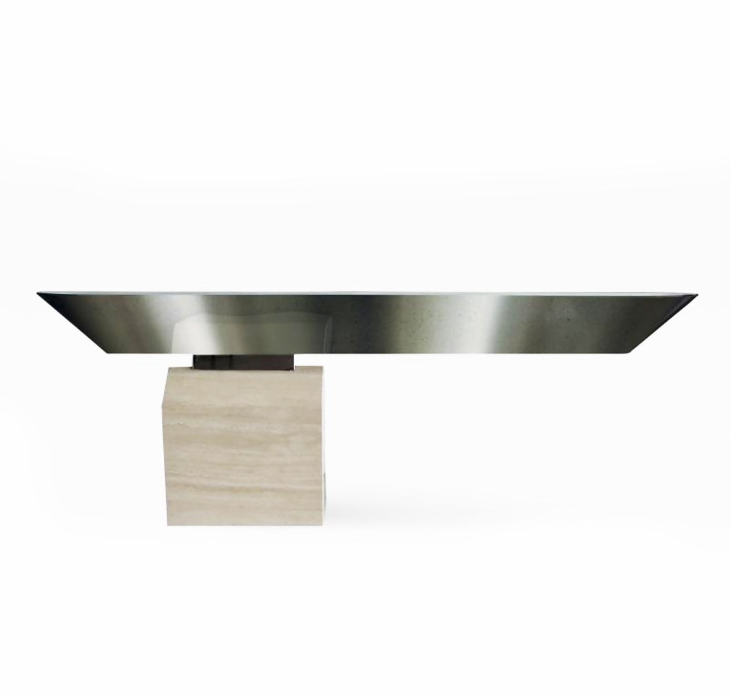 American Modern Chrome and Travertine Illuminated Console Table - BOCCARA ART Online Store