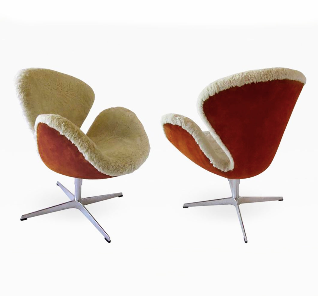 Pair Arne Jacobsen Limited Edition Shearling and Suede Swan Chairs - BOCCARA ART Online Store