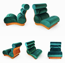 Load image into Gallery viewer, Set of 3 French Modern Walnut & Turquoise Velvet Upholstered Chairs - BOCCARA ART Online Store