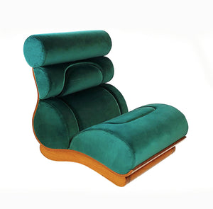 Set of 3 French Modern Walnut & Turquoise Velvet Upholstered Chairs - BOCCARA ART Online Store
