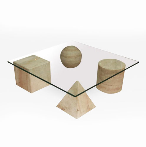 Italian Modern Travertine Marble and Glass Top Low Table, by Massimo Vignelli - BOCCARA ART Online Store
