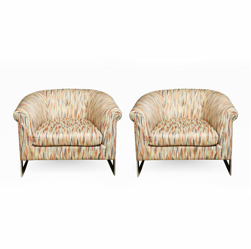 Pair of Milo Baughman Polished Chrome Club Chairs - BOCCARA ART Online Store