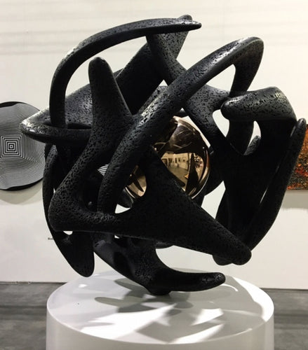 Monumental Black Kinetic Bronze Sculpture