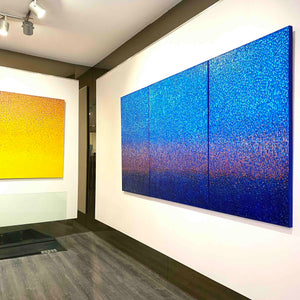 "Blue Monochrome Korean Abstract Painting ""Winter Fall Trilogy"" by Hyun Ae Kang - BOCCARA ART Online Store"