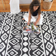 Crystals - Black Grey | Soft Stylish Reversible Play Mat | Large