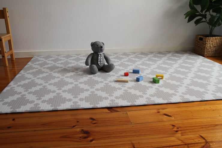 Luxe Dark - Grey Star | Stylish Reversible Foam Floor Play Mat | Large Blue - Grey