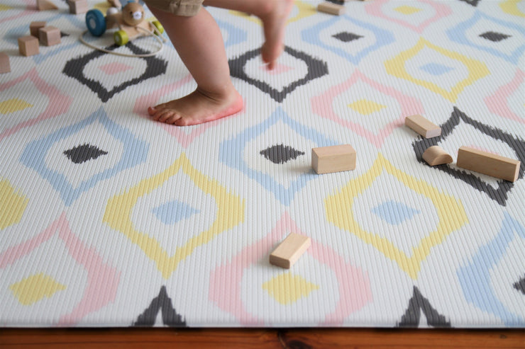 Luxe Play - Charcoal Star | Stylish Reversible Foam Floor Play Mat - Large