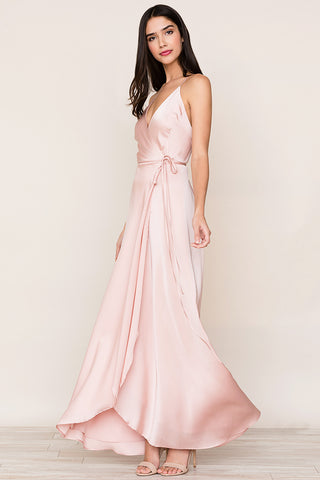 Flowing Rush Hour Pink Silk Maxi Dress with deep v-neckline and snap chest closure by Yumi Kim
