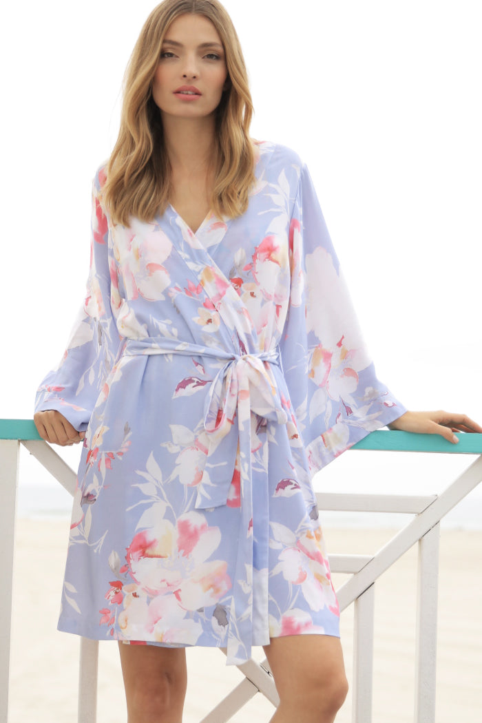 Bridesmaid & bridal robes by Yumi Kim.  The kimono-inspired design and Love Is In The Air Silver floral robe is perfect for bridesmaids on wedding day.