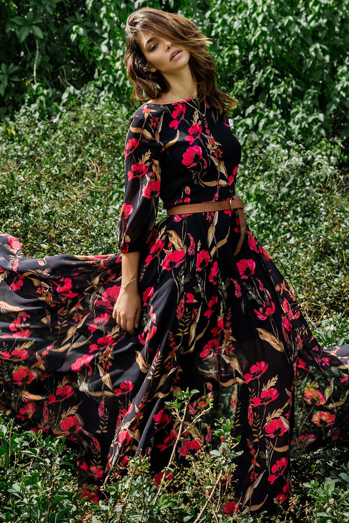 Woodstock Maxi Dress with a flowing, full-length skirt, romantic red floral print and blouson sleeves by Yumi Kim.