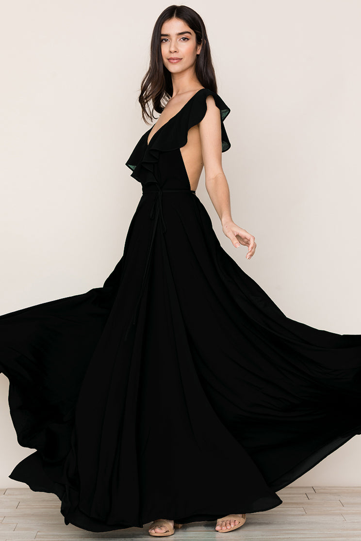 Elevate your evening look in Yumi Kim's Full Bloom Black Open Back Maxi Dress.