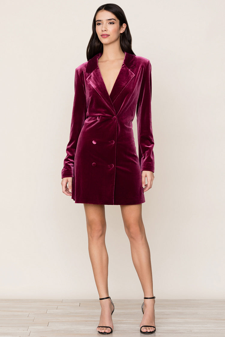 Classic velvet tuxedo gets a feminine update with Yumi Kim's Suit It Up Burgundy Velvet Dress.