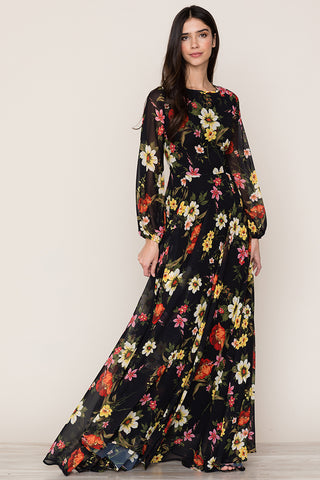 Yumi Kim's elegant True Love Floral Flowy Maxi Dress is a classic for any occasion. Details include full length skirt, long blouson sleeves, hidden back zipper.