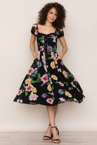Elevate your casual chic style with the Mercer Street Floral Midi Dress by Yumi Kim. Details include picot trim detail, elastic shoulders, fitted top with a-line skirt, button down front, back smocking, and pockets.