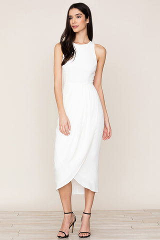 Yumi Kim's So Social Dress is your go-to look from the office to cocktail hour. This white cocktail party dress includes a tulip skirt and racerback with hidden back zip.