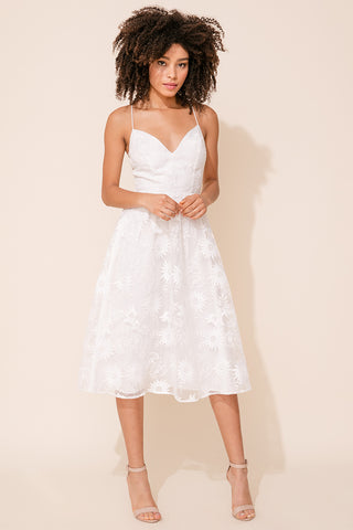 Je T'aime Lace Midi Dress by Yumi Kim. A classic white wedding guest dress with a flirty open back with cross straps.