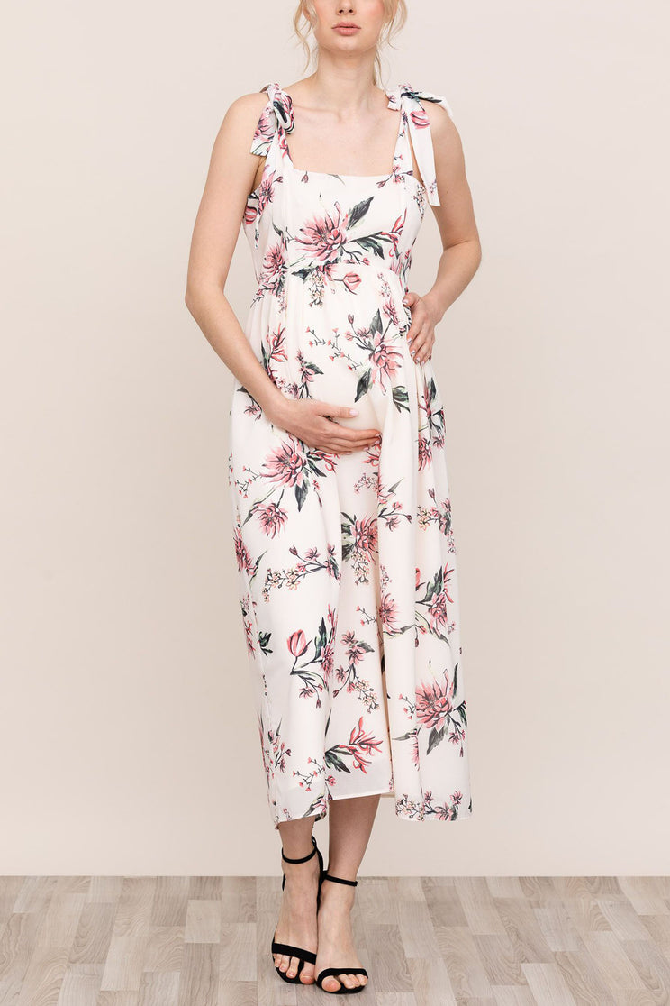 bd156d03930ad Stay stylishly comfortable for you and your bump in Yumi Kim Blair White  Floral Maternity Dress ...