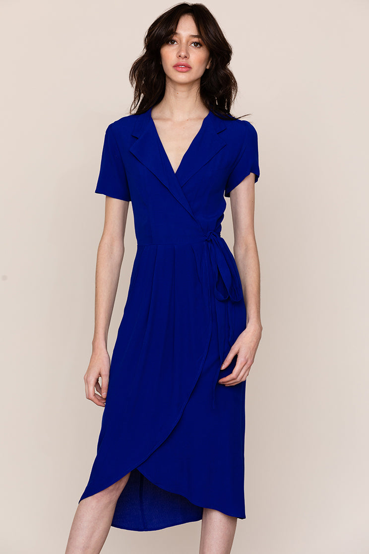 Yumi Kim's refined Meet and Greet v-neck midi dress is a staple in every closet.