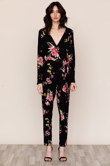 Comfort meets feminine style in Yumi Kim's Free Fall Floral Long Sleeve Jersey Jumpsuit.