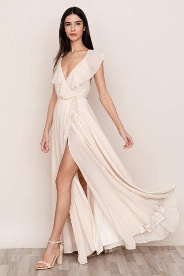 Elevate your evening look in Yumi Kim's Full Bloom Ivory Chiffon Maxi Dress.
