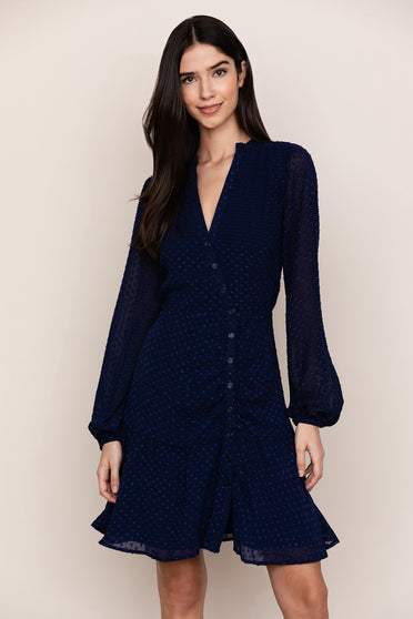 Your new go to work to dinner dress, Valencia Navy Wrap Mini Dress by Yumi Kim.