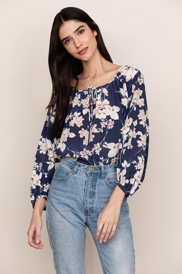 Create a sophisticated boho look in Yumi Kim's Easy Going Floral Silk Blouse Top.