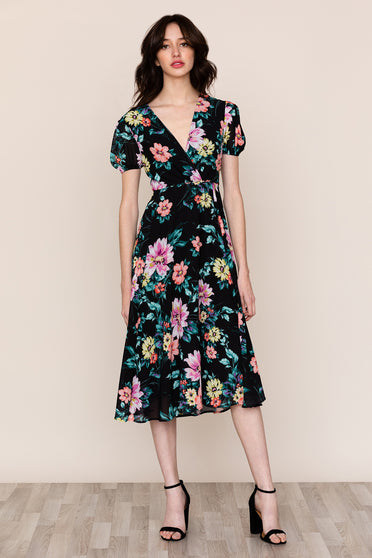 Be ready for any occasion in Yumi Kim's Midnight Love Black Floral Midi Dress
