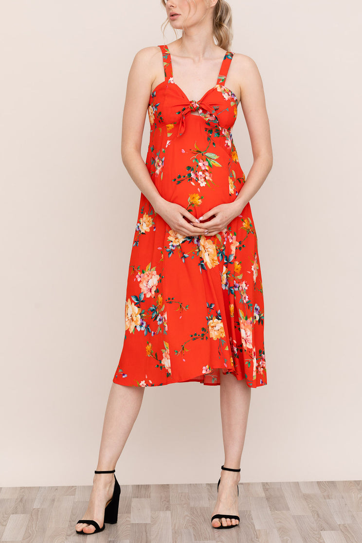 Yumi Kim Grace Red Floral Maternity Dress is perfect for you and your bump.