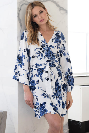 Floral Kimono robe by Yumi Kim.  The kimono-inspired design and watercolor bouquet bridal robe is perfect for bridesmaids party on wedding day.