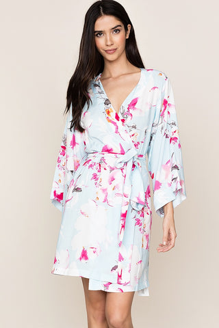 Bridesmaid & bridal robes by Yumi Kim.  The kimono-inspired design and Love Is In The Air Mist floral robe is perfect for brial party.
