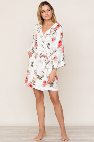 Dream Lover Wedding Day Robe by Yumi Kim. The kimono-inspired floral robe with True Love print is perfect for your bridesmaids on wedding day.