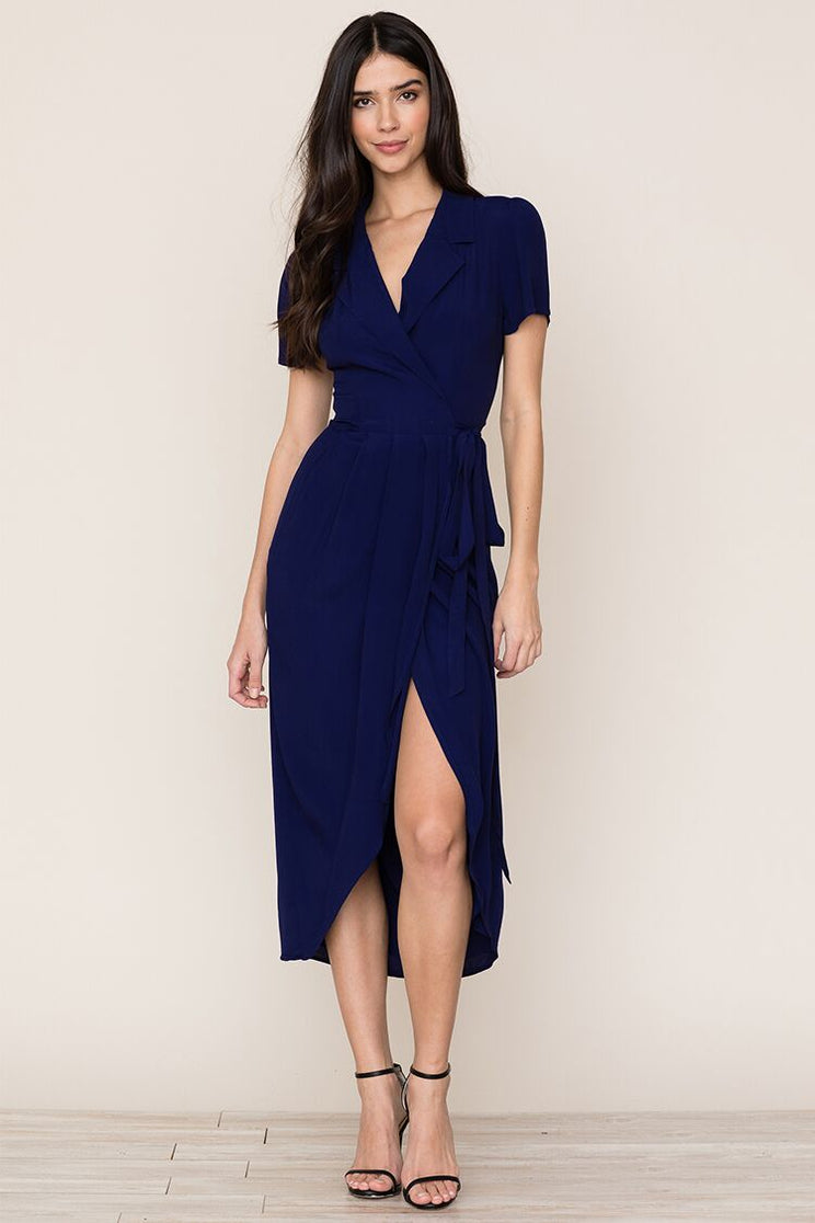 bf2a4be0d2637 Yumi Kim's refined Meet and Greet Navy Wrap Midi Dress is a staple in every  closet ...