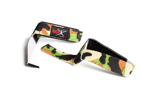 MAXbarbell Essentials Neoprene-Padded Lifting Straps (Pair) - Camo