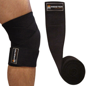 "72"" Power Knee Wraps w/ Velcro (Pair) - Black"