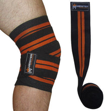 "72"" Power Knee Wraps w/ Velcro (Pair) - Black / Orange"