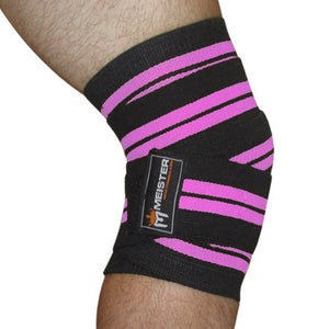 "72"" Power Knee Wraps w/ Velcro (Pair) - Black / Pink"