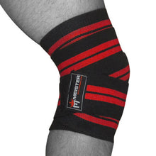 "72"" Power Knee Wraps w/ Velcro (Pair) - Black / Red"